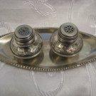 Rare 800 Silver Salt & Pepper Cellars/Shakers & Tray, Signed HAGAVIA Israel 1950
