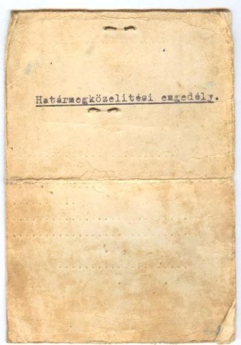 HUNGARIAN IDENTITY CARD PASS PERMISSION 1930'S