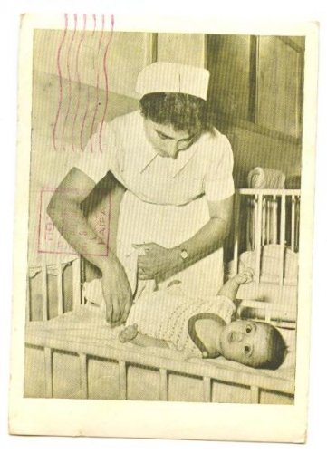 """NURSE & BABY"" WORKING MOTHERS ISRAEL POSTCARD 1952"