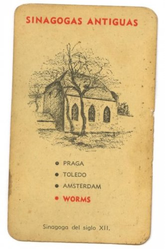 WORMS GERMANY ANTIQUE SYNAGOGUE (1200'S) CARD JUDAICA