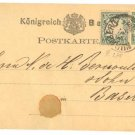 1875 FROM BAYERN GERMANY TO BASEL SWISS POSTCARD