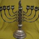 RARE ARTISTIC CANDLE / OIL SILVER PLATED LARGE HANUKKAH MENORAH LAMP ISRAEL
