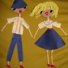 ISRAELI YOUTH Hand made Dolls Israel 1970's ~ Wall Decor