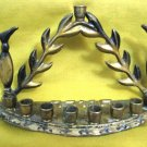 PITCHERS ~ Vintage Enamel Brass Hanukkah Menorah Lamp, Israel 1950's