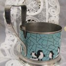 PENGUINS Russian Enamel Silver plated glass holder 1960's ~ Export edition!