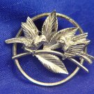 "1940s CARL-ART STERLING SILVER BROOCH ""BIRDS ON BRANCH"""