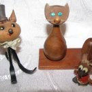 ADORABLE VINTAGE WOOD DESKTOP SET OF 2 CATS & MOUSE PEN & CARDS HOLDER ISRAEL