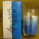 YIZKOR ~ IDF Israel ZAHAL Blue White Candle in Glass ~ Rare