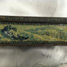 ANTIQUE ICE SKATING LITHO TIN BOX FOR BISCUITS OR CANDIES
