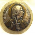 STUNNING JEANNE D'ARC SILVER PLATE BRASS MEDAL ON MARBLE PAPER WEIGHT by RUFFONY