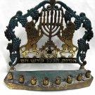 1960 ISRAEL LIONS COLORED HANUKKAH MENORAH LAMP