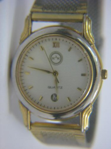 BEAUTIFUL GOLD & SILVER TONE ADI QUARTZ DATE 3ATM WATCH