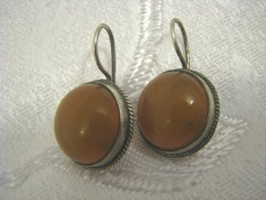 VINTAGE RUSSIAN 875 SILVER AMBER ROUND HANGING EARRINGS