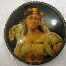 Fabulous Artisan Gold Lacquer Painted Russian Brooch, Fedoskino