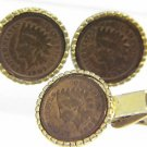 1906-1907 ONE CENT INDIAN HEAD CUFFLINKS & TIE CLASP