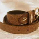 "VALENTINO VERGA Italy Genuine Leather Brown Belt 110cm 43 5/16"" Gold tone buckle"