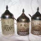 Lot of Vintage Russian Filigree Silver plated Mustard Pots with spoons and glass