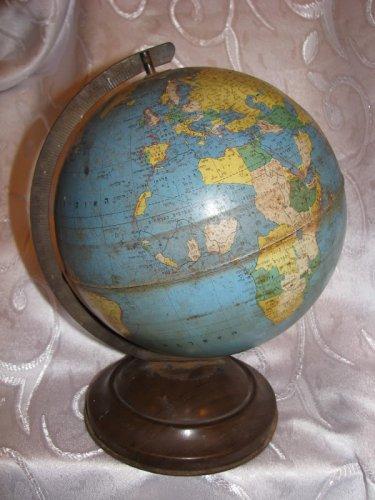 """Vintage Hebrew Litho Tin Metal Globe, 7.5"""" diameter"""
