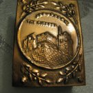 ISRAEL 6 DAY WAR~WESTERN WALL & JERUSALEM CITADEL~EMBOSSED COPPER MATCHES HOLDER