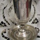 LECHAIM Silver Kiddush Cup Goblet and Plate Palestine Eretz-Israel Sidned