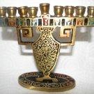VINTAGE MINIATURE BRASS HANUKKAH MENORAH LAMP ISRAEL