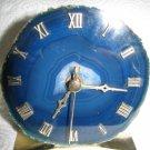 GORGEOUS BLUE AGATE CRYSTAL ROMAN NUMBERS QUARTZ CLOCK