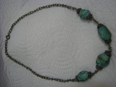 1940's Pre-Israel Eilat Stone Silver Handmade Necklace