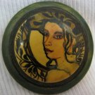 Portrait of Woman Artisan Hand Painted Brooch Israel