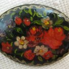 Russian Artisan Hand painted Floral Brooch Signed