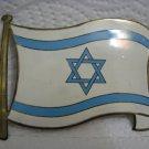 Large Vintage FLAG OF ISRAEL Enamel Brass Sign Emblem
