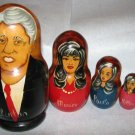 CLINTON MONICA PAULA HILLARY HAND PAINTED WOOD RUSSIAN NESTING DOLL