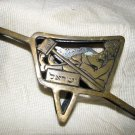 YARD KEEPER'S CART ~ BRASS NAPKIN HOLDER ISRAEL 1960'