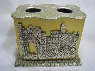 JERUSALEM VIEWS Beautiful Two-tone Candle holder ISRAEL