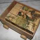 Sweet Antique Set of Children's Wooden Blocks / Cubes & Carrying Wagon w/ Scenes