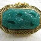 VINTAGE GOLDETTE FAUX GREEN JADE FLORAL CAMEO PILL BOX