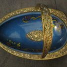 Vintage Enameled Brass Vase Basket by ILAN, Israel