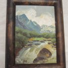 ORIGINAL SIGNED OIL ON BOARD PAINTING VIEW ON THE CARPATHIANS MALY RIADOK LITVA