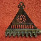 ANTIQUE ISRAEL BRASS HANUKKAH MENORAH OIL LAMP JUDAICA UNUSUAL TRIANGLE SHAPE