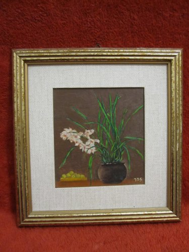 ISRAEL SIGNED ZOHAR HAND PAINTING OIL ON FIBERBOARD 12x11 cm FLOWERS IN BOWL