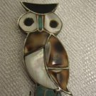 """OWL"" SPECTACULAR NACRE & GEMSTONES STERLING SILVER PIN BROOCH"