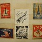 LOT #13 OF 5 VINTAGE RARE MATCHBOX LABELS FRANCE CABARET PUNCH PRONOSPORT