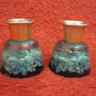 2 BEAUTIFUL ISRAEL SHABBAT CANDLESTICKS EILAT STONE OF KING SOLOMON COPPER MINES