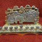 VINTAGE ISRAEL WAINBERG BRASS 24K GOLD SILVER PLATED HANUKKAH MENORAH JERUSALEM