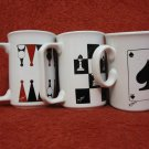VINTAGE BEAUTIFUL 3 JOHN TAMS MUGS CUPS GAMES CHESS NARD CARDS MADE IN ENGLAND
