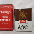 VINTAGE UNPACKED DURKEE PAPRIKA & 1973 FINAST BLACK PEPPER TIN RARE COLLECTIBLE
