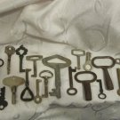 LOT OF 20 VINTAGE BRASS & METAL SKELETON DOOR, CLOCK LOCK KEYS #10