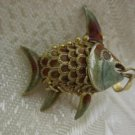 GORGEOUS ANTIQUE CHINESE ARTICULATED FISH SILVER ENAMEL PENDANT CHARM