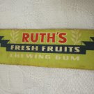 RARE VINTAGE 50's 60's ISRAEL RUTH CHEWING BUBBLE GUM WRAPPER FRESH FRUITS