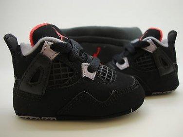 cf3dea3ddb0e  487219-089  Infants Crib Air Jordan 4 Retro Black Red Soft Bottom Gift  Pack Cap
