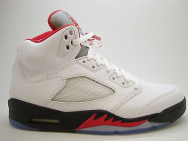 2b08ff0abfe499  136027-100  Mens Air Jordan 5 Retro V White Fire Red Black OG 2013  Exclusive QS